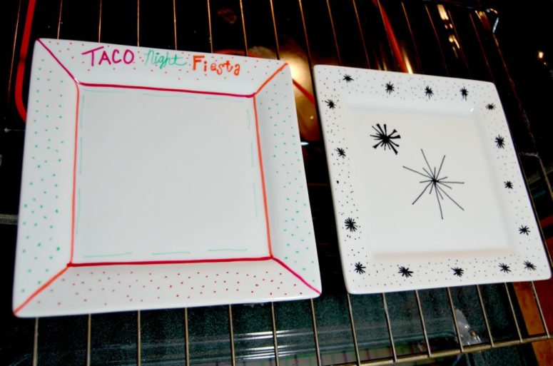 DIY baked sharpie plates (via www.homedit.com)