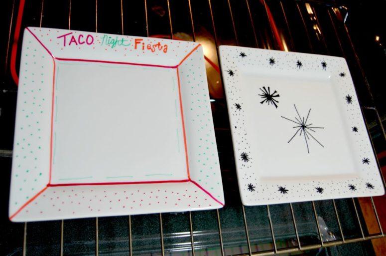 DIY baked sharpie plates (via www.homedit.com)