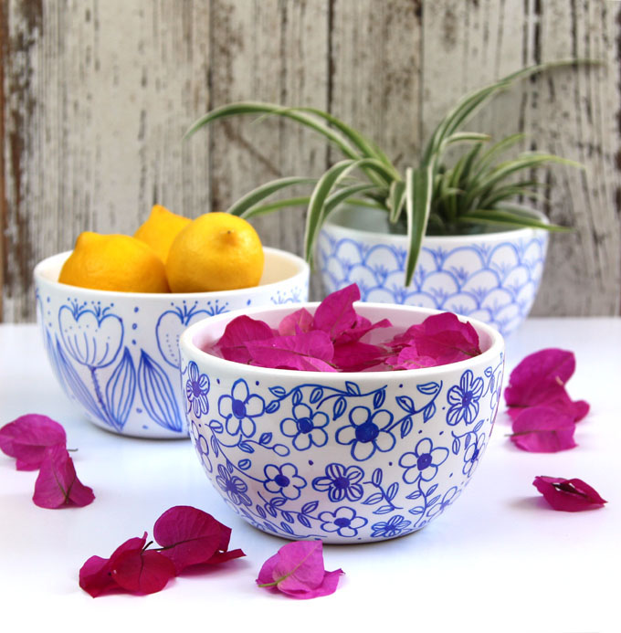 DIY no bake sharpie bowls in blue