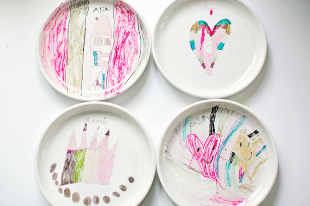DIY colorful sharpie art on plates made by kids