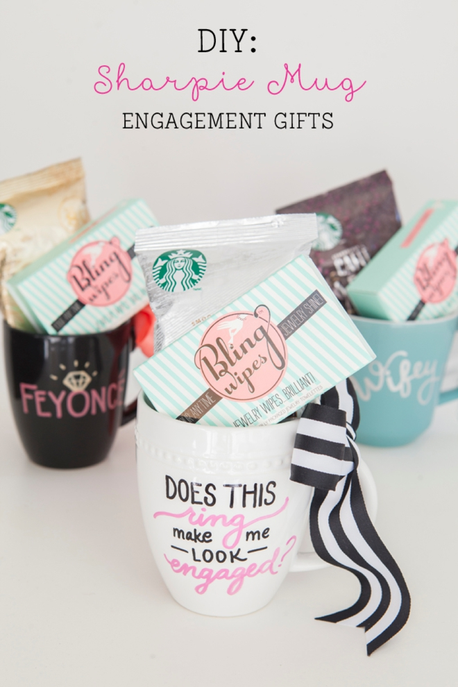 DIY sharpie mug engagement gift (via somethingturquoise.com)