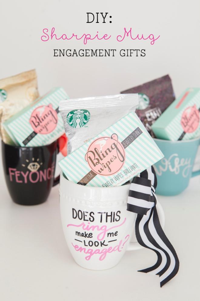 DIY sharpie mug engagement gift (via somethingturquoise.com)