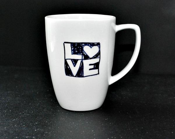 DIY black and white sharpie mug