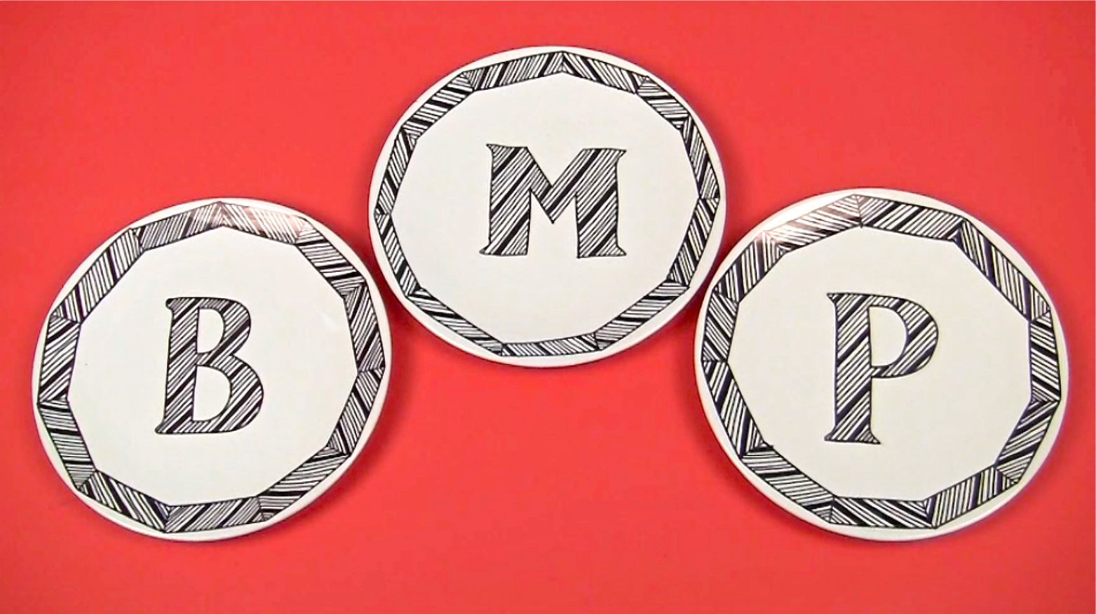 DIY graphic black and white plates