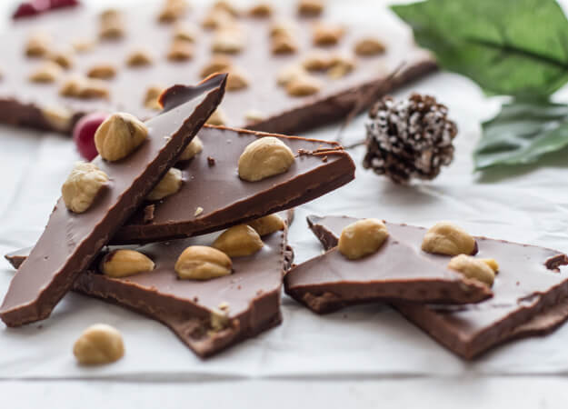 DIY triple chocolate bark with hazelnuts