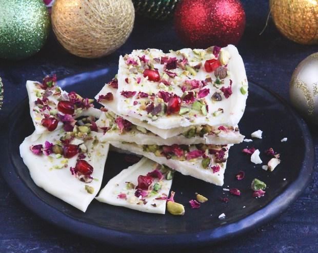 DIY rose petals white chocolate bark (via www.tashasartisanfoods.com)