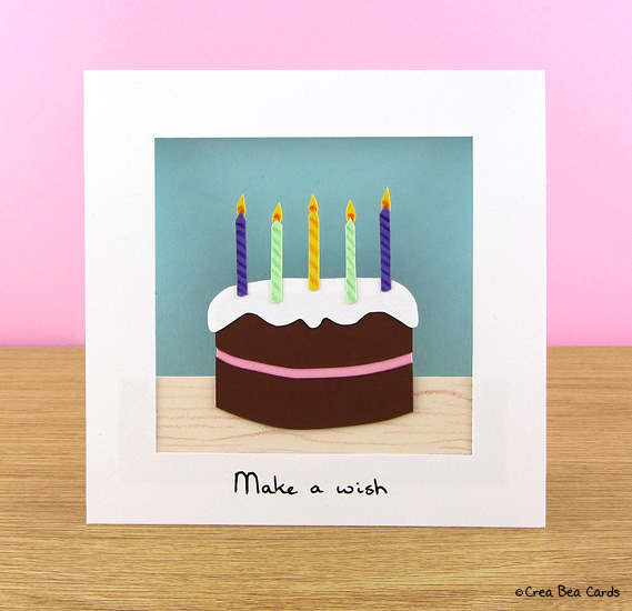 DIY chocolate birthday cake card (via creabeacards.com)