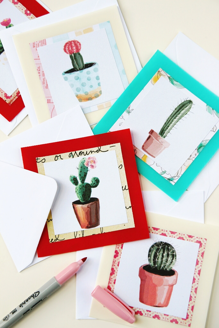 DIY watercolor succulent and cacti birthday cards (via www.gatheringbeauty.com)