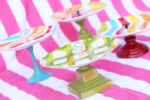 colorful DIY melamine cake stand