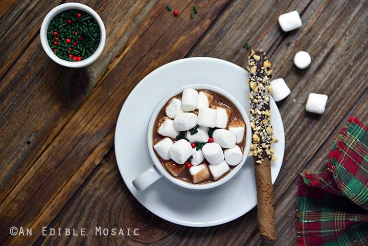 DIY hot chocolate with toppings (via www.anediblemosaic.com)
