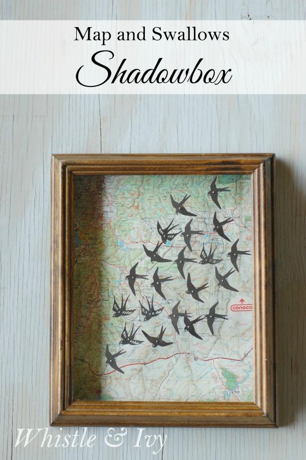 DIY map and swallows shadow box (via www.whistleandivy.com)