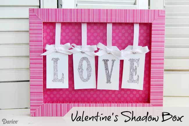 DIY pink Valentine shadow box with letters (via blog.darice.com)