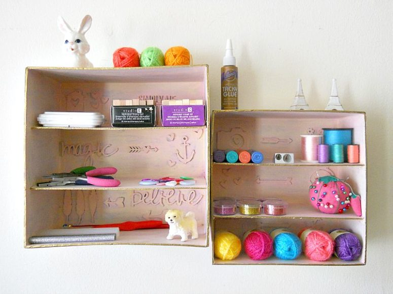 DIY shadow box craft storage (via https:)