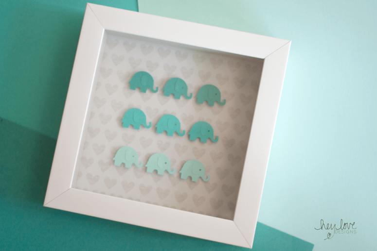 DIY ombre elephant shadow box frame (via www.heylovedesigns.com)