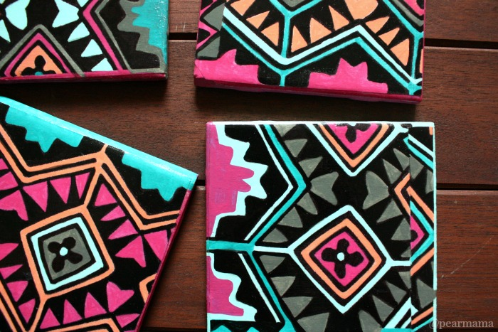 projects design unique coasters. DIY Aztec print tile coasters  via pearmama com 14 Easiest And Cutest Tile Coaster Projects Shelterness