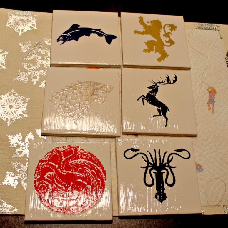 DIY Game Of Thrones coasters (via www.craftaspell.com)