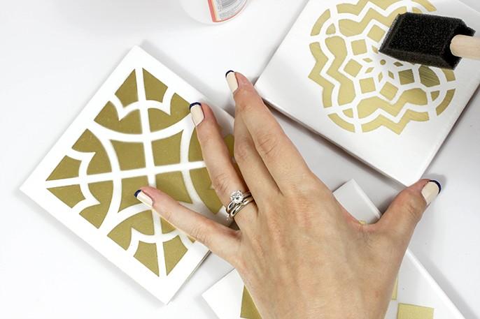 DIY Moroccan tile coasters (via www.fabfatale.com)