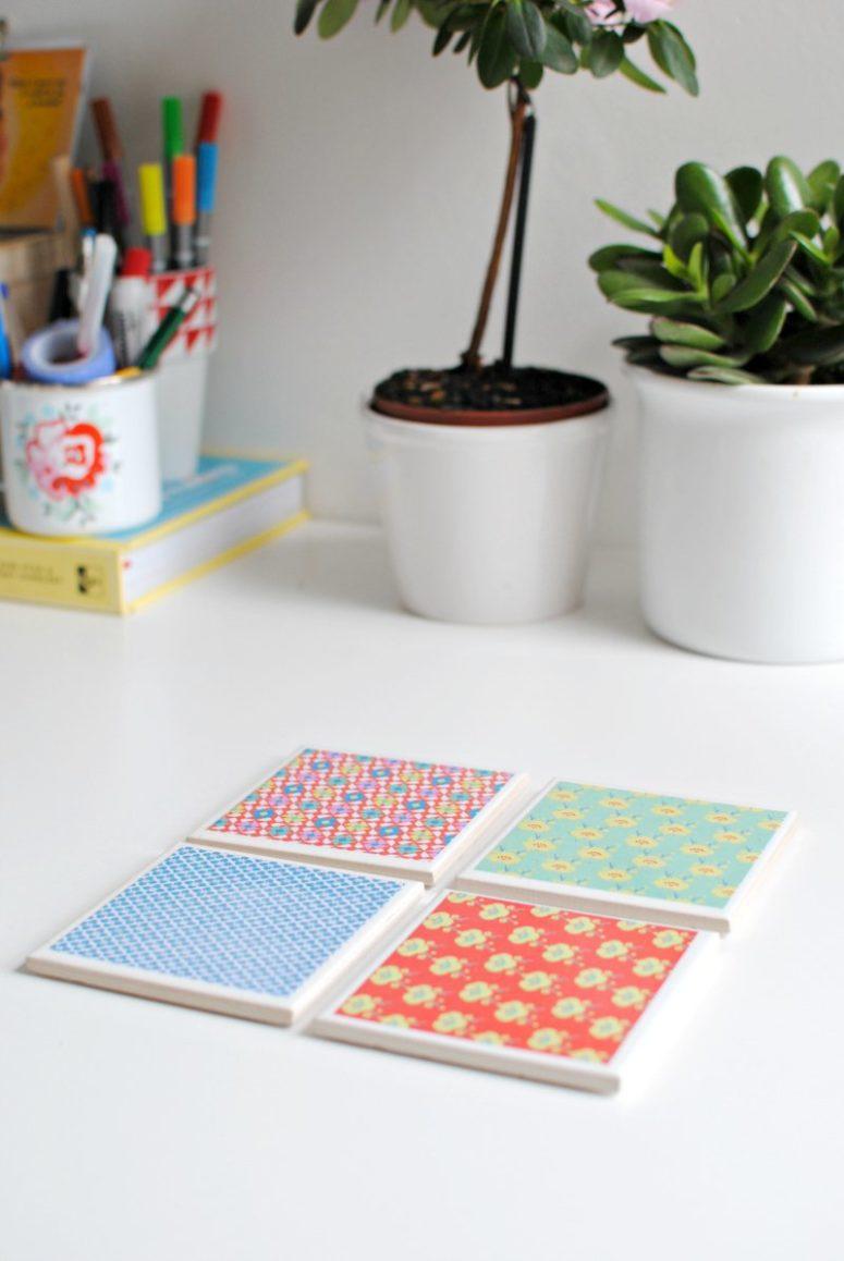 DIY scrapbook paper tile coasters (via www.burkatron.com)