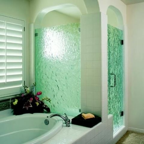 green rain glass in the shower creates that spa feeling
