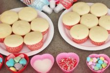 03 cupcake decorating bar at a Valentine's Day party
