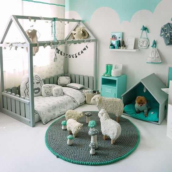 house frame bed lets the kid interact with the space more still being cozy