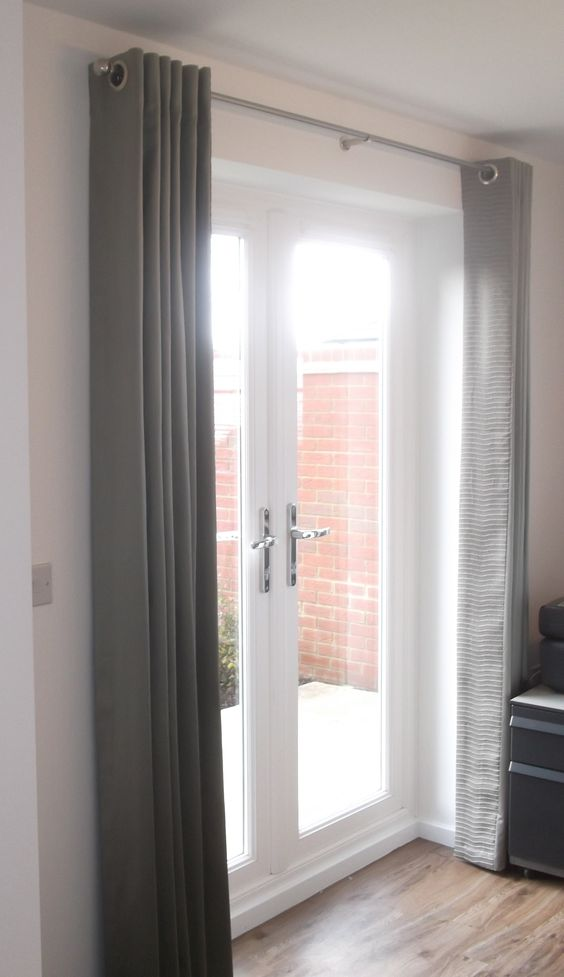 Simple Modern Grey Curtains Over The Doors