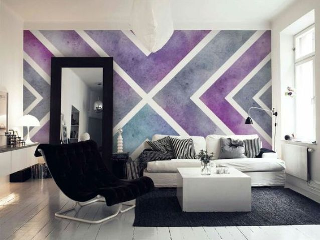 the whole wall as a wlal art with grey and purple figures