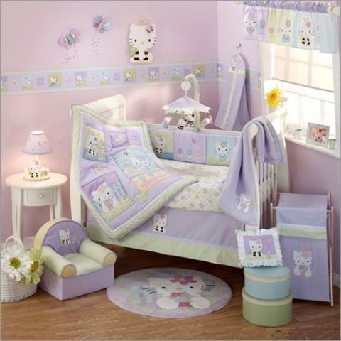 Awesome lavender and light green Hello Kitty nursery decor