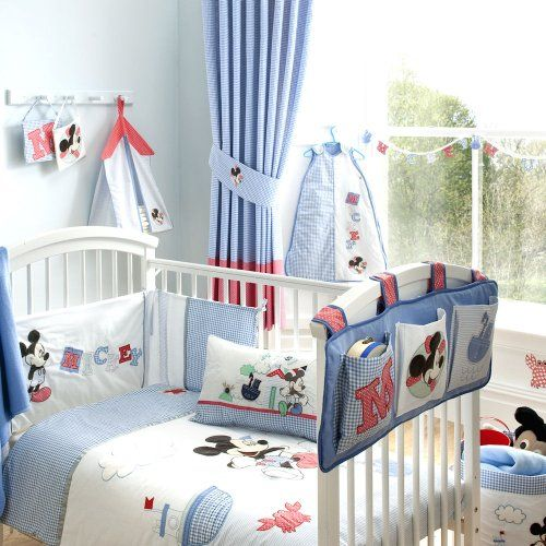 Marvelous light blue Mickey Mouse nursery looks relaxing and cute