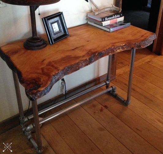 live edge wood desk with an industrial feel