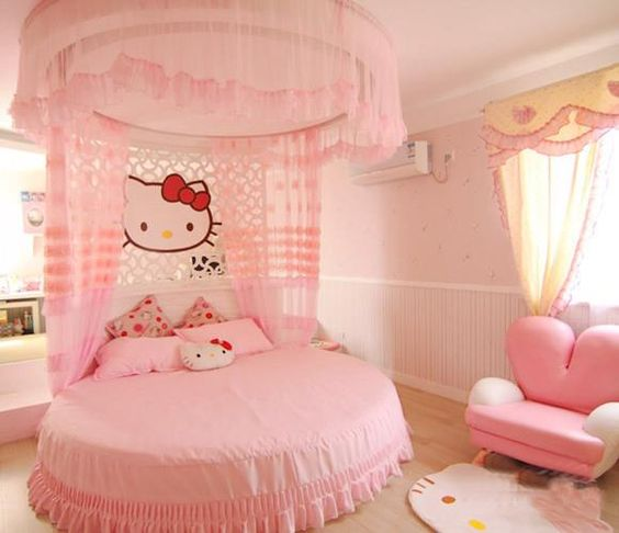adorable pink Hello Kitty room with a round bed