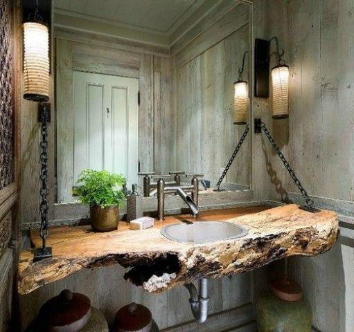 bathroom countertop of raw edge wood hung on chains
