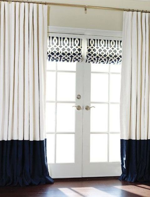 color block cream and navy curtains over the doors