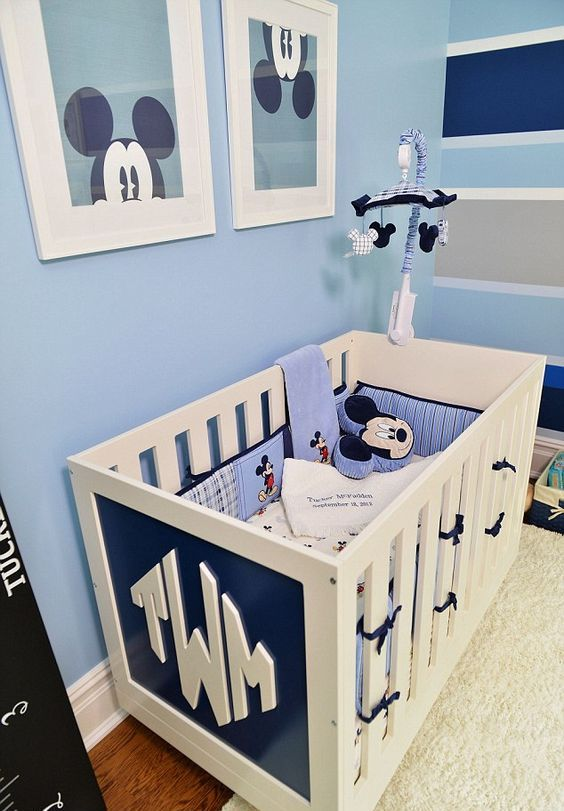 light blue and navy nursery decor