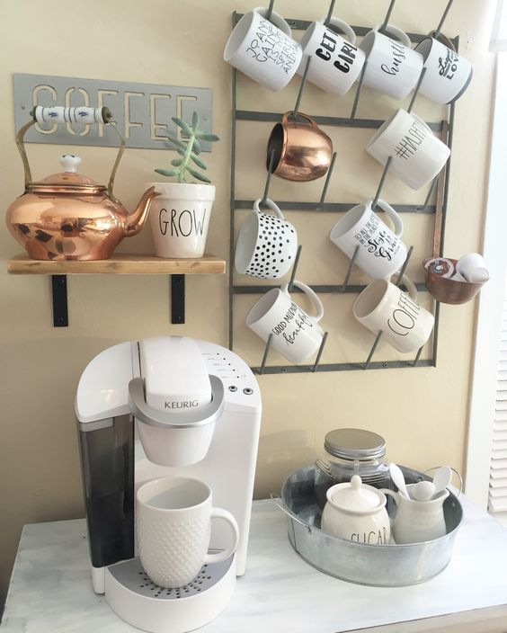 metal mug shelf on the wall will easily save the space