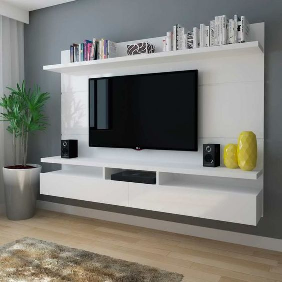 white glossy panel shelf with storage options