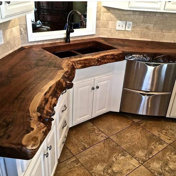 a live edge kitchen countertop will catch everybody's eye