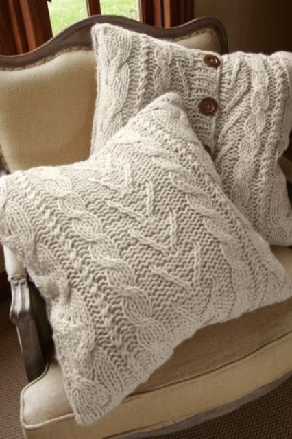 knit such pillow cases with large buttons yourself