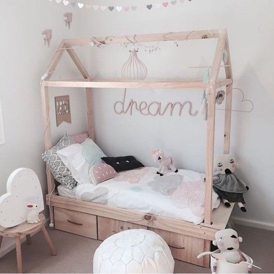 wooden frame house bed with additional drawers for storage