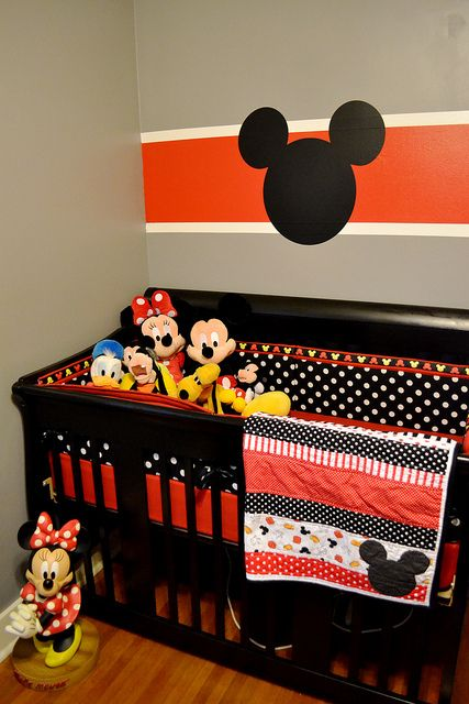 Mickey nursery with orange touches and polak dots