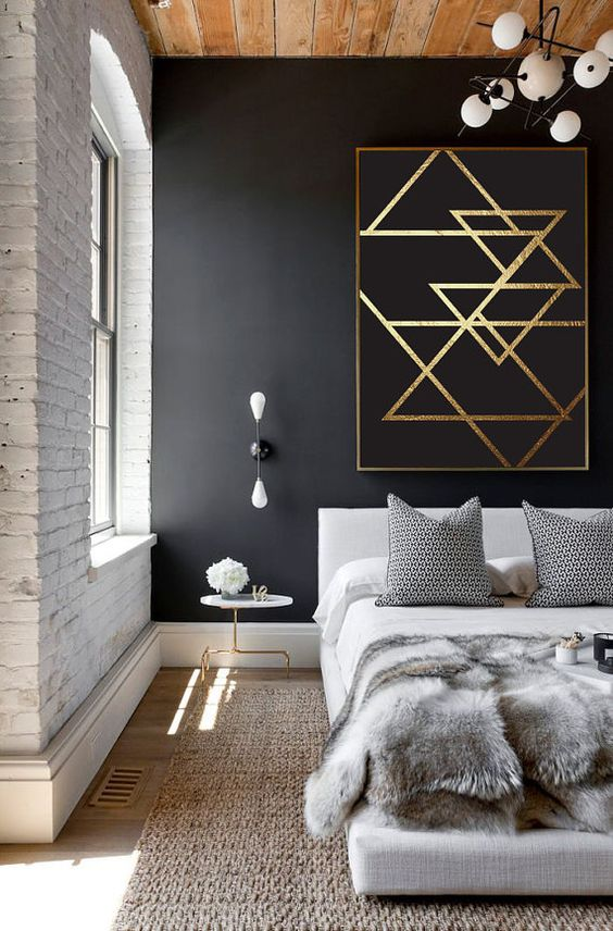 black and gold leaf oversized triangle wall art