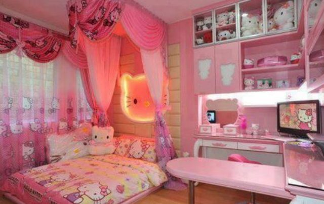 colorful small Hello Kitty bedroom decor