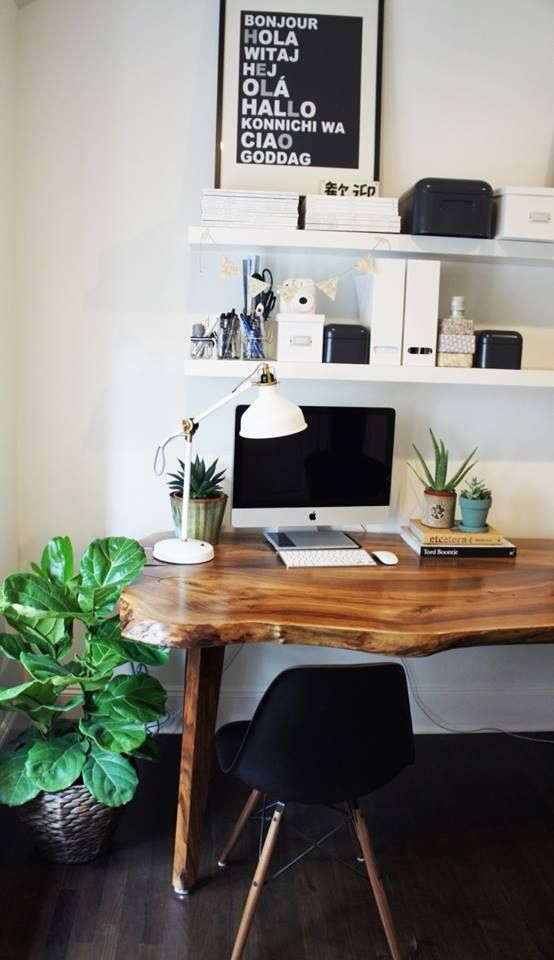 elegant raw edge wood desk for a home office
