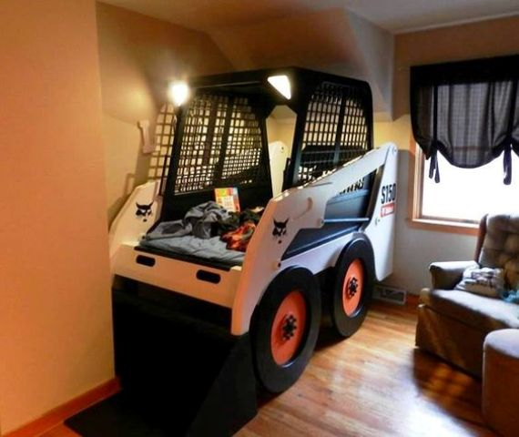 skid steer loader replica bed with headlights