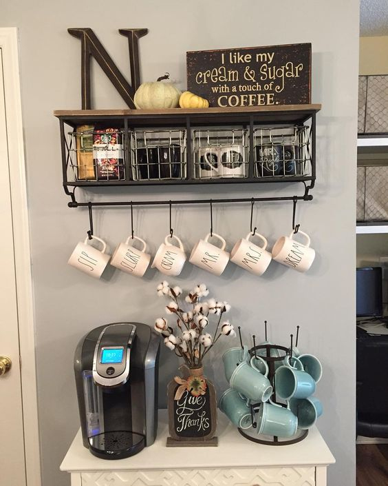 small modern drink station with hanging mugs