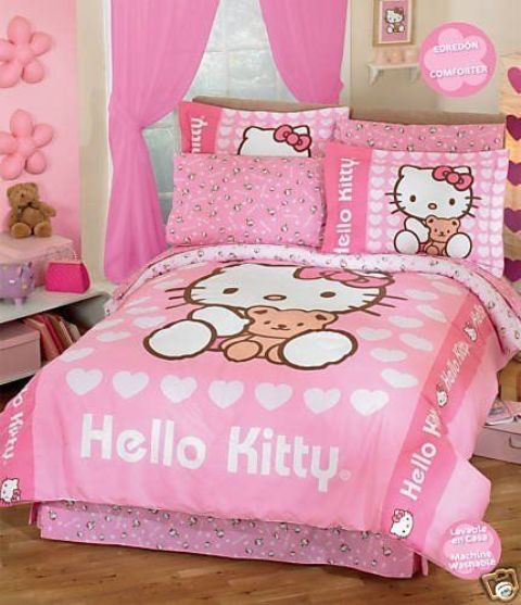 cute pink girl's room with Hello Kitty prints all over