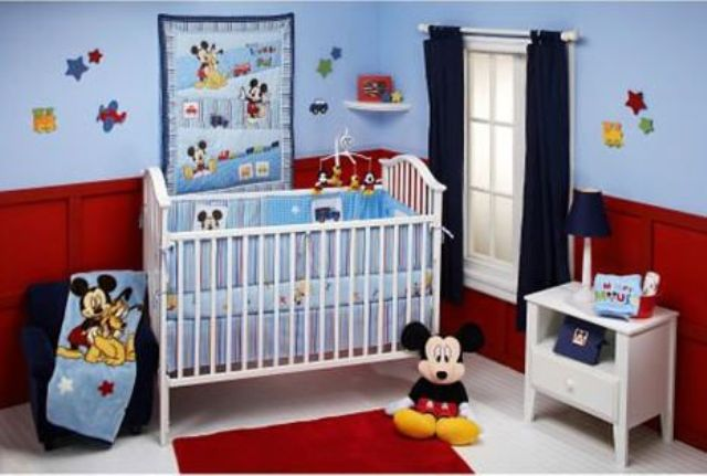 Luxury light blue red and navy Mickey nursery for a boy