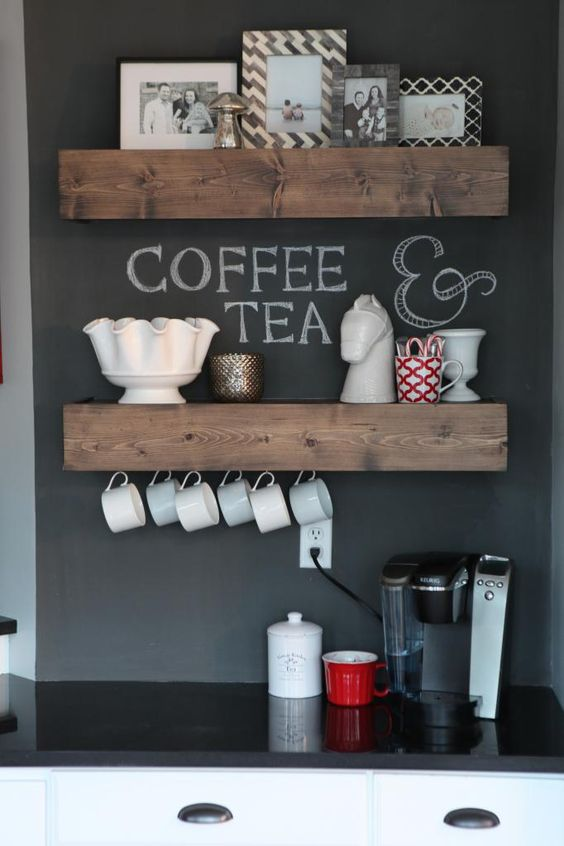 open shelving with hooks for cups or mugs is a great space-saving solution