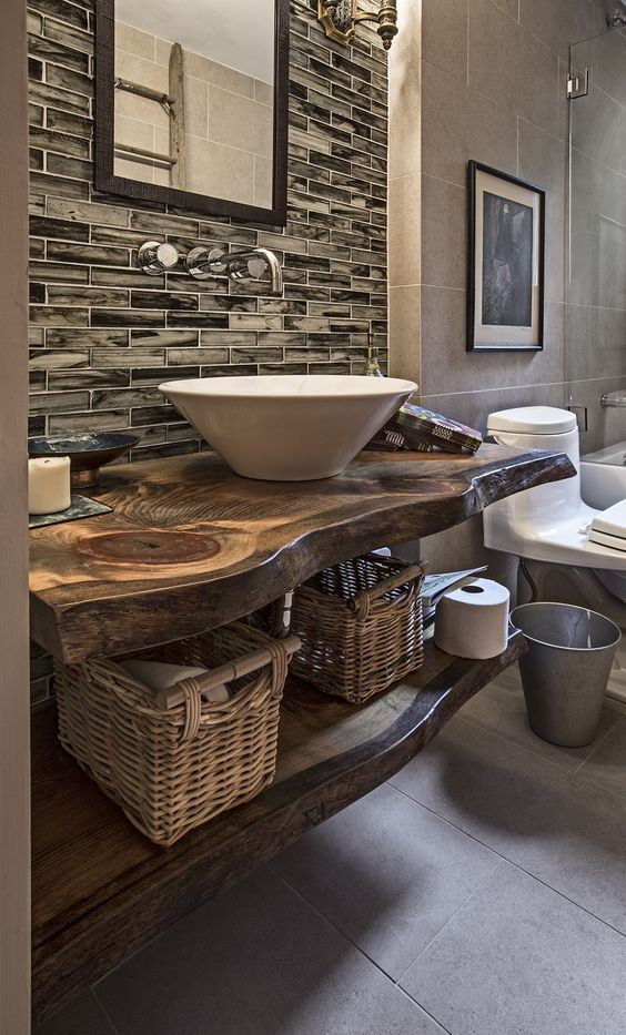 rustic bathroom with a live edge wood countertop