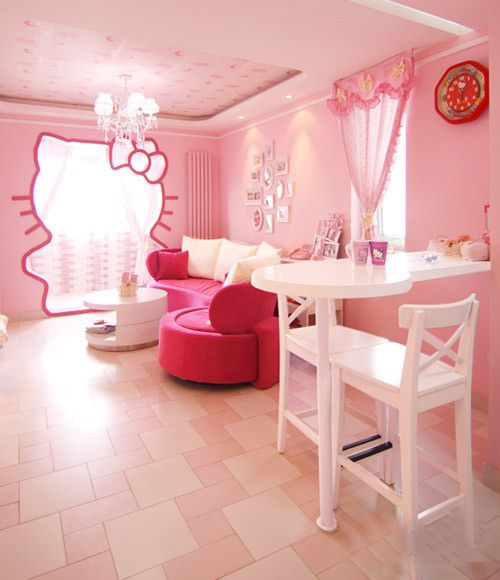 cutest girls' room with Hello Kitty theme in pink shades